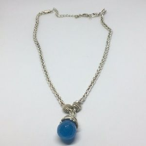 Avon silver tone faceted blue drop necklace